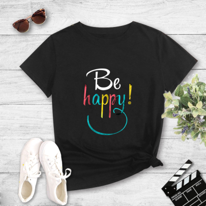Color Letter Printing Short-sleeved T-shirt Nihaostyles Clothing Wholesale NSYAY81319