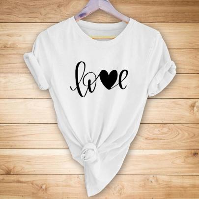 Letter Heart Shape Printing Short-sleeved T-shirt Nihaostyles Clothing Wholesale NSYAY81318