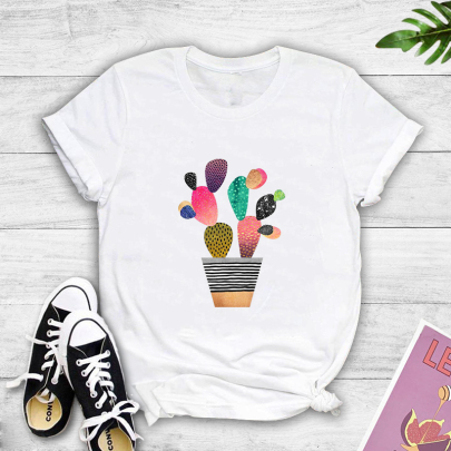 Cartoon Color Flower Potted Printing Short-sleeved T-shirt Nihaostyles Clothing Wholesale NSYAY81315