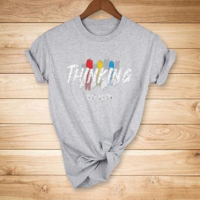 English Graffiti Print Short-sleeved T-shirt Nihaostyles Clothing Wholesale NSYAY81314