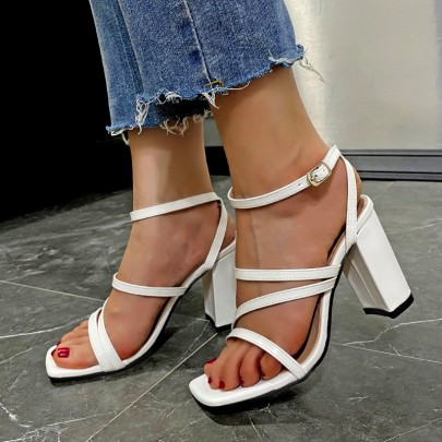 Thick High-heeled Buckle Strap Sandals Nihaostyles Clothing Wholesale NSYUS81291