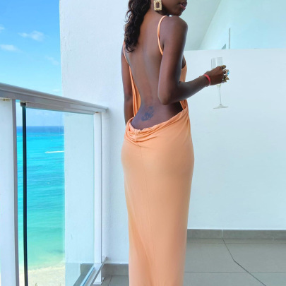 Summer Sexy V-neck Hollow Backless Strap Dress Nihaostyles Wholesale Clothing NSFR80905