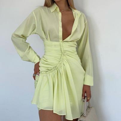 Autumn Sexy V-neck Pleated Long-sleeved Shirt Short Dress Nihaostyles Wholesale Clothing NSFR80907