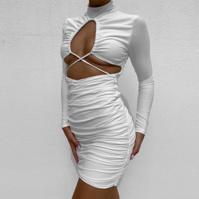 Hollow Exposed Navel Long Sleeve Pleated Short Dress Nihaostyles Wholesale Clothing NSFR80916