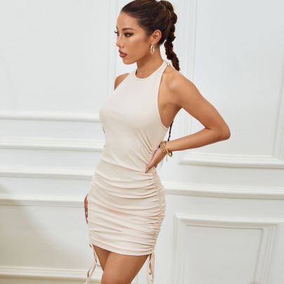 Backless Halterneck Lace-up Package Hip Dress Nihaostyles Wholesale Clothing NSLIH80927