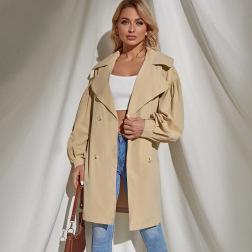 Women's Retro Double Buckle Khaki Windbreaker Coat Nihaostyles Wholesale Clothing NSLIH80929