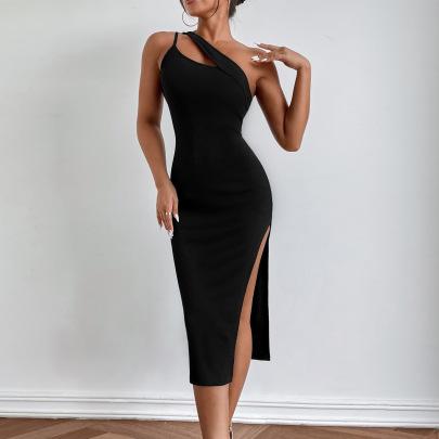 Hollow Sleeveless Slanted Shoulder Sling Package Hip Splitted Dress Nihaostyles Wholesale Clothing NSLIH80930