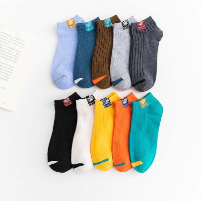 Low-cut Striped Leaf Polyester Cotton Socks 10-pairs Nihaostyles Clothing Wholesale NSLSD80940