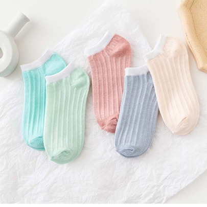 Short Striped Solid Color Polyester Cotton Socks 10-pairs Nihaostyles Clothing Wholesale NSLSD80941