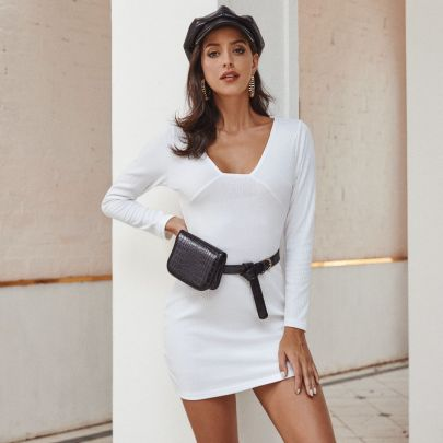 Autumn And Winter Women's Slim Striped Cusual Dress Nihaostyles Wholesale Clothing NSJM80945