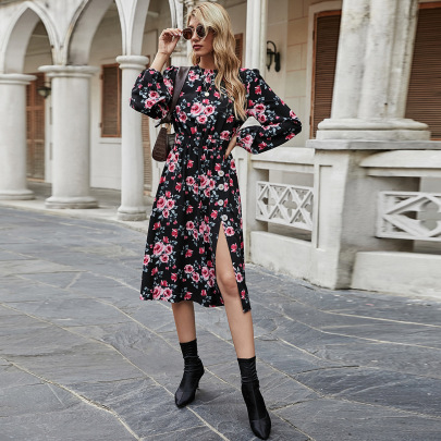 Autumn And Winter Women's Round Neck Flower Print Slitted Dress Nihaostyles Wholesale Clothing NSJM80951