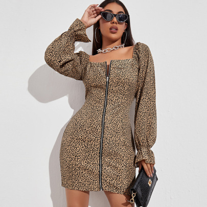 Women's Low-cut Square Collar Leopard Print Zipper Short Dress Nihaostyles Wholesale Clothing NSLIH80964