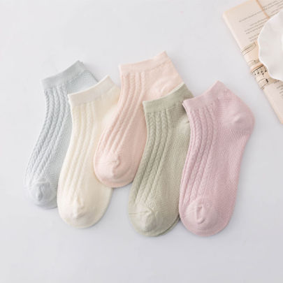 Solid Color Striped Short Combed Cotton Socks 5-pairs Nihaostyles Clothing Wholesale NSLSD80987