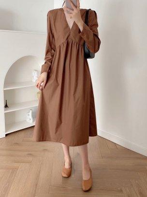 Women's Poplin V-neck Pleated Dress Nihaostyles Wholesale Clothing NSAM81003