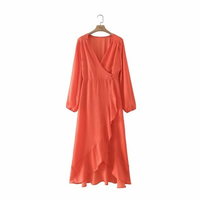 Women's V-neck Ruffle Dress Nihaostyles Wholesale Clothing NSAM81009