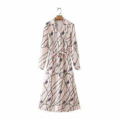 Women's V-neck Lace Up Shirt Dress Nihaostyles Wholesale Clothing NSAM81012