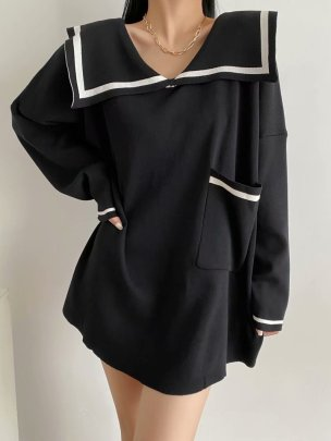 Middy Collar Knitted Dress Nihaostyles Clothing Wholesale NSAM81037