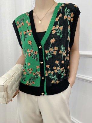 Sleeveless Flower Printed Woolen Vest Nihaostyles Clothing Wholesale NSAM81039