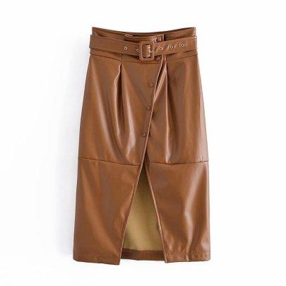 Faux Leather Slit Skirt Nihaostyles Clothing Wholesale NSAM81051