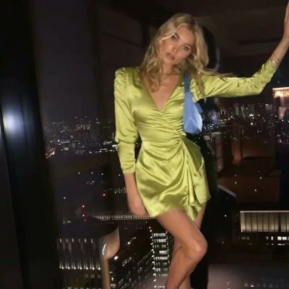 Slim Satin Wrap Lace-up Ruffle Dress Nihaostyles Clothing Wholesale NSAM81061