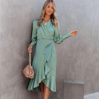 Slim Ruffled Irregular Long-sleeved Dress Nihaostyles Clothing Wholesale NSXIA81284