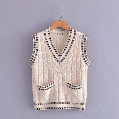 Stitch Decoration V-neck Sleeveless Knitted Vest Nihaostyles Clothing Wholesale NSAM81056