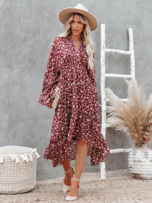 Printed Flared Sleeve Irregular Dress Nihaostyles Clothing Wholesale NSXIA81283