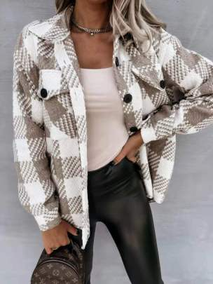 Woolen Plaid Coat Nihaostyles Clothing Wholesale NSOUY81281