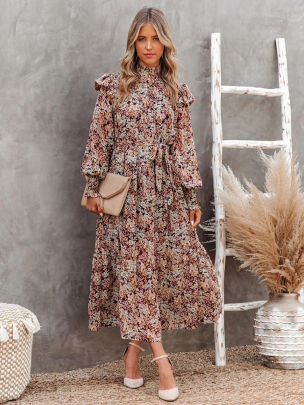 Pleated High-necked Floral Print Long-sleeved Dress Nihaostyles Clothing Wholesale NSXIA81277