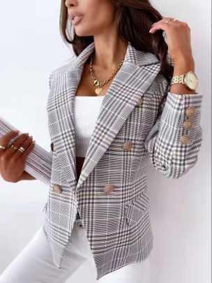 Plaid Printing Suit Jacket Nihaostyles Clothing Wholesale NSOUY81276