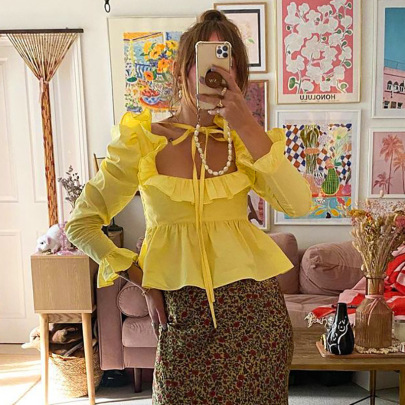 Solid Color Hedging Ruffled Long-sleeved Lace-up Top Nihaostyles Clothing Wholesale NSSWF81089