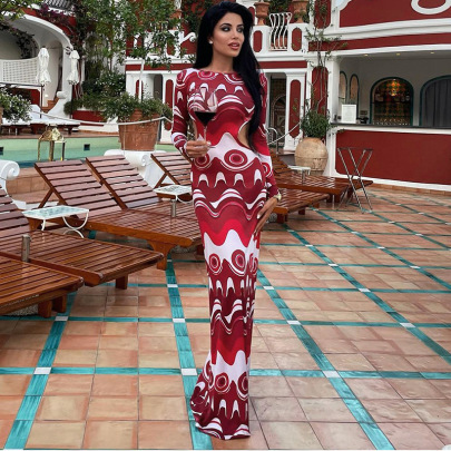 Round Neck Pullover Hollow Back Printing Long-sleeved Dress Nihaostyles Clothing Wholesale NSMG81152
