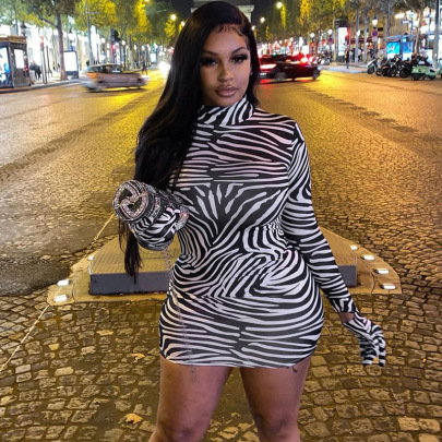 Round Neck Pullover Mid-waist Long-sleeved Striped Gloves Dress Nihaostyles Clothing Wholesale NSMG81161