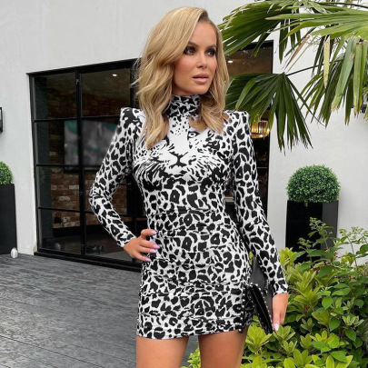 Round Neck Pullover Leopard Print Long-sleeved Dress Nihaostyles Clothing Wholesale NSMG81163