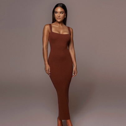 Solid Color Round Neck Pullover Threaded Long Dress Nihaostyles Clothing Wholesale NSMG81170