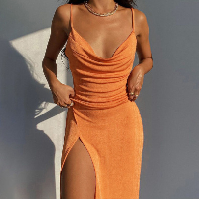 Knitted Split Sling Dress Nihaostyles Clothing Wholesale NSFLY81196
