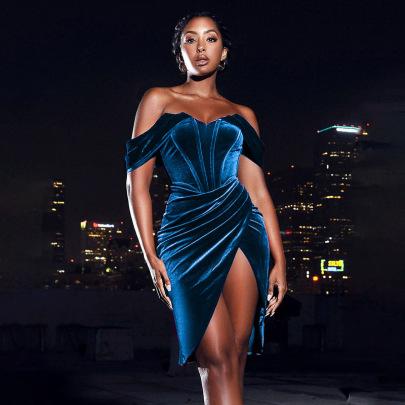 Velvet Slit Dress Nihaostyles Clothing Wholesale NSFLY81200