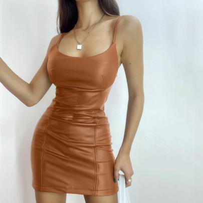 Slim Strap Leather Sleeveless Dress Nihaostyles Clothing Wholesale NSFLY81203