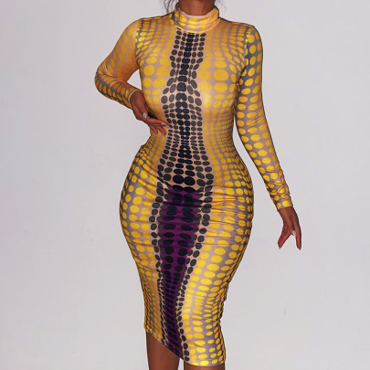 Yellow Polka-dot Long-sleeved Round Neck Dress Nihaostyles Clothing Wholesale NSFLY81208