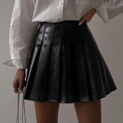 Leather Pleated Skirt Nihaostyles Clothing Wholesale NSFLY81214