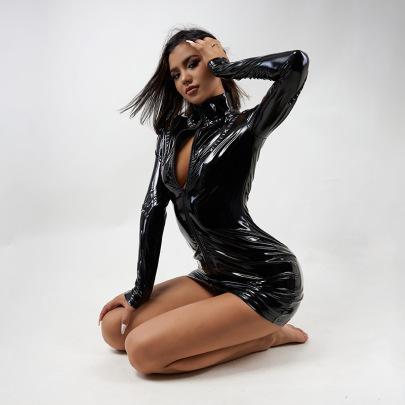 Stand Collar Full Zipper Dress Nihaostyles Clothing Wholesale NSXPF81219