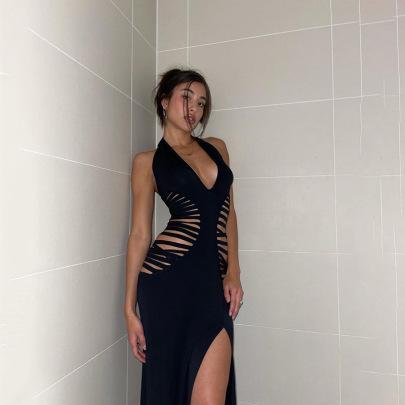 Hollow V-neck Lace Solid Color Slit Slim Dress Nihaostyles Clothing Wholesale NSXPF81225
