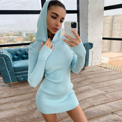 Knitted Hooded Long-sleeved Slim Dress Nihaostyles Clothing Wholesale NSXPF81234