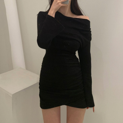 Solid Color Tight Long Sleeve Off-the-shoulder Pleated Skirt Nihaostyles Clothing Wholesale NSXPF81245
