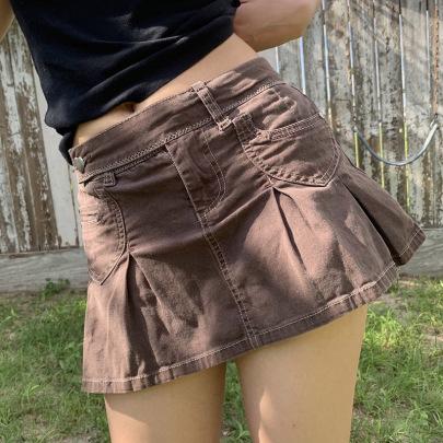 High Waist Short Denim Pleated Skirt Nihaostyles Clothing Wholesale NSXPF81256