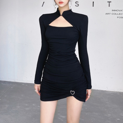 Metal Accessories Hollow Stand Collar Pleated Dress Nihaostyles Clothing Wholesale NSXPF81264