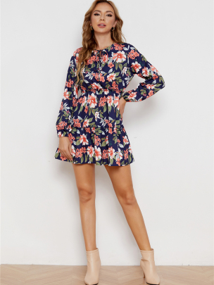 Long-sleeved Loose Belted Floral Dress Nihaostyles Wholesale Clothing NSXIA83163