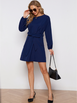 Pure Color Lace-up Long-sleeved Dress Nihaostyles Wholesale Clothing NSXIA83164