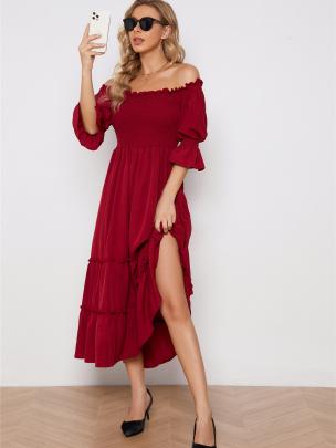 Off-shoulder Tube Top Irregular Edge Long Dress Nihaostyles Wholesale Clothing NSXIA83165