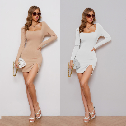 Long-sleeved Knitted Slit Package Hip Tight Dress Nihaostyles Wholesale Clothing NSXIA83166